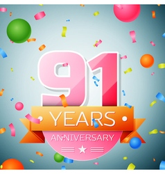 Ninety one years anniversary celebration vector image