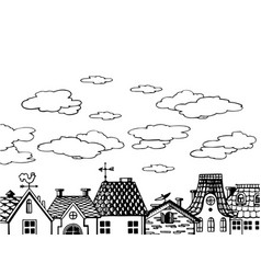 old houses roof engraving vector image