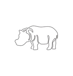 One single line drawing big cute hippopotamus vector