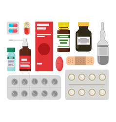 Pills and liquids to treat illnesss and ease pain vector