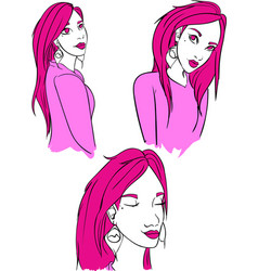 pink lady cartoon graphic vector image