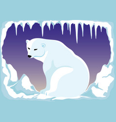 polar bear on the north pole vector image