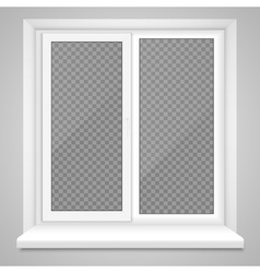 Realistic closed middle open plastic window vector