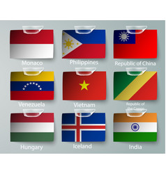 realistic set flags paper countries vector image