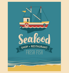 Restaurant or seafood store with fishing boats vector
