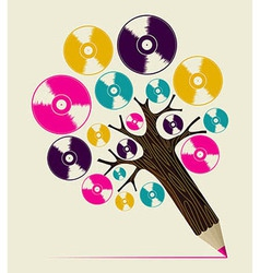 Retro music concept art tree vector