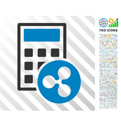 Ripple calculator flat icon with bonus vector