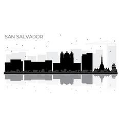 san salvador city skyline black and white vector image