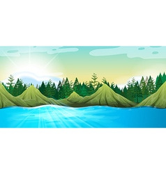 Scene with mountains and pine trees vector