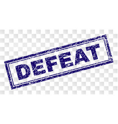 Scratched defeat rectangle stamp vector