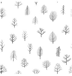 Seamless patterns with doodle trees vector