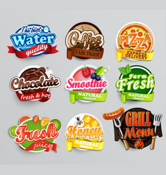 set food stickers vector image