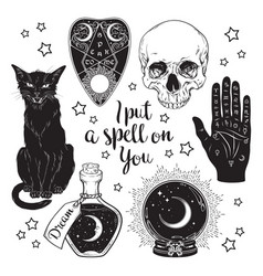 set magic witchcraft objects vector image