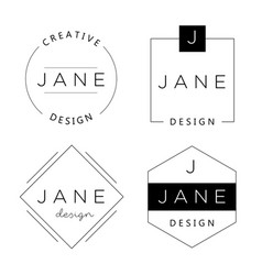 set personal logo templates basic elements vector image