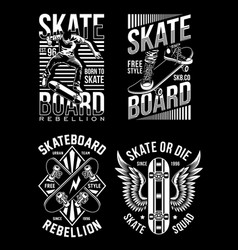 Skateboard t-shirt design collection vector