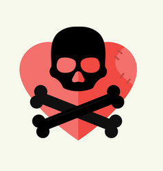 Skull and crossbones mark danger warning on vector