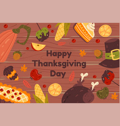thanksgiving food wooden banner with pie vector image