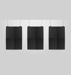 Three realistic black blank vertical a4 vector