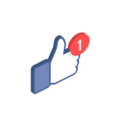 Thumbs up like social network isometric icon with vector