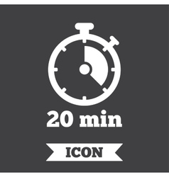 Timer sign icon 20 minutes stopwatch symbol vector