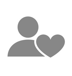 user profile with heart grey icon charity vector image