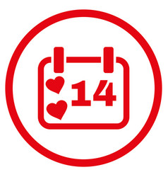 valentine calendar day rounded icon vector image