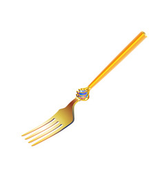 Vintage gold fork with a holidays ornament in vector