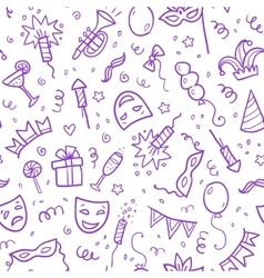 Violet carnival symbols in doodle style on white vector image