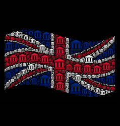 Waving uk flag pattern of library building items vector