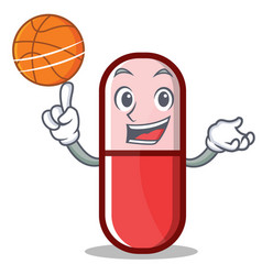 with basketball pill capsule cartoon character vector image