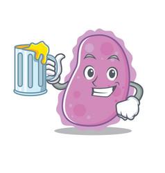 With juice bacteria mascot cartoon style vector