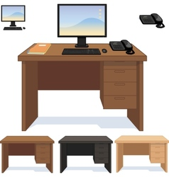 Wood desk with computer telephone and papers set vector image