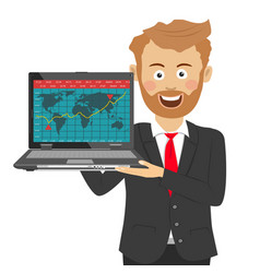Young bearded businessman holding laptop vector