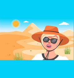 Young happy woman in hat sunglasses against vector