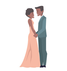 young married couple holding hands in wedding vector image