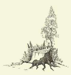 birch tree around stump vector image vector image