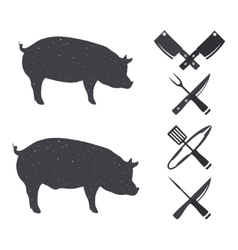 Black silhouettes of a pig and a hog vector image vector image