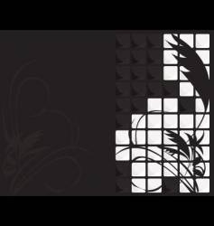 black white floral tile background vector image