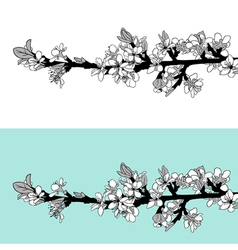 blooming tree twig vector image vector image