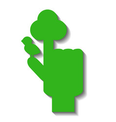green hand with pointed finger with symbolic tree vector image vector image