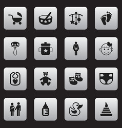 set of 16 editable infant icons includes symbols vector image