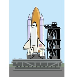 space shuttle at launch pad vector image vector image
