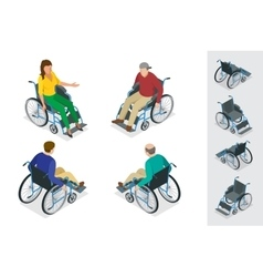 Wheelchair isolated Man in Wheelchair Flat 3d vector image