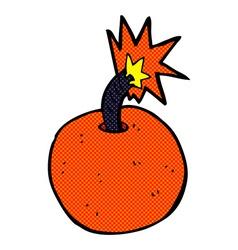 comic cartoon burning bomb vector image