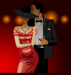 man and woman in evening dress dark on dark red vector image vector image