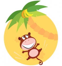 monkey trying to reach banana vector image vector image