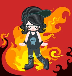 Rock style with fire vector image vector image