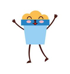 Sand bucket beach toy kawaii character vector
