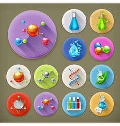Science tubes and molecules long shadow icon set vector image vector image
