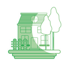 silhouette beutiful house with grid wood vector image